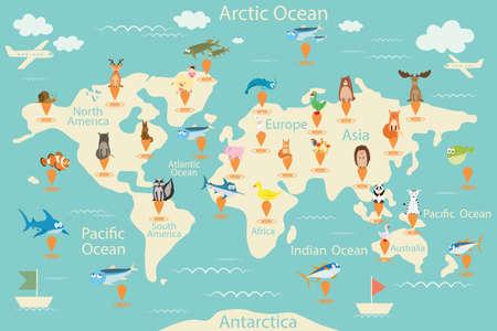Dieren, kaart van de wereld. Vector Illustratie
