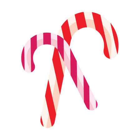 candycane: Color icon, christmas, candy, candy on a white background. Template for decoration or design. Illustration