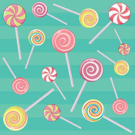 Striped candy canes and candy on a stick without the wrapper. Christmas, New Year, winter holiday, dessert and food. Vector illustration.