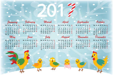 Calendar 2017 in English. Week starts on Monday. With a background of snowflakes and chickens. Illustration