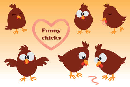 Cute cartoon set Chicken. Funny brown chicken in different positions, vector illustration.