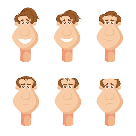 male characters suffering from hair loss on the head with unfortunate facial expressions, cartoon. Vector illustrations isolated on white background. Illustration