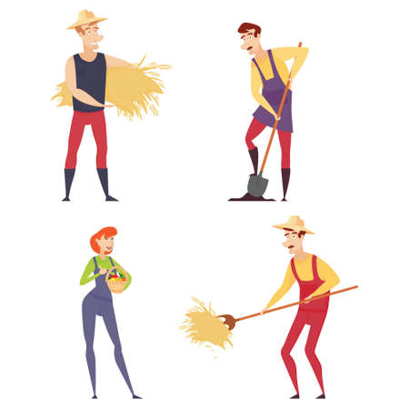 Set of farmers using agricultural implements. Farmer with a shovel, a pitchfork. Farmer in a wheat field working on the tablet. Farmer harvesting. Vector illustration. Illustration