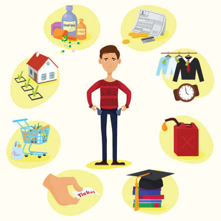 Family budget composition of full length male character with empty pockets surrounded by valuable things circle vector