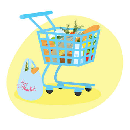 Self-service, supermarket shopping trolley full basket of fresh produce and food. Vector illustration.