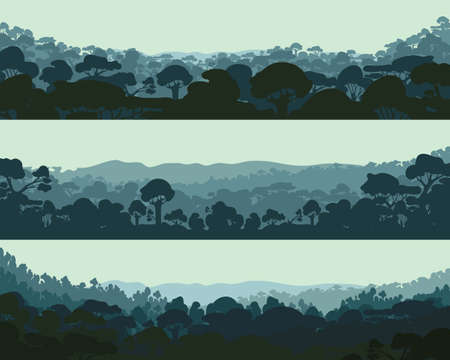 Horizontal night forest. Landscape trees. Silhouettes Vector illustration