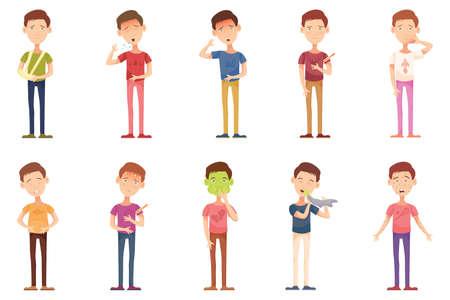 snotty: Influenza, icons, illness, cartoon with unhealthy people, boy child flat vector illustration Illustration