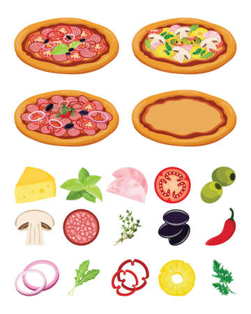 Italian pizza recipe. Cooking pizza with ingredients on white background