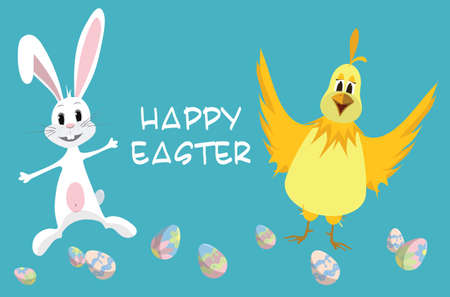 Easter card - Bunny and Chicken