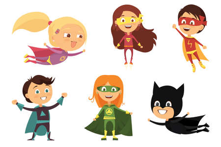 Children, colorful costumes of various superheroes, isolated on white background cartoon