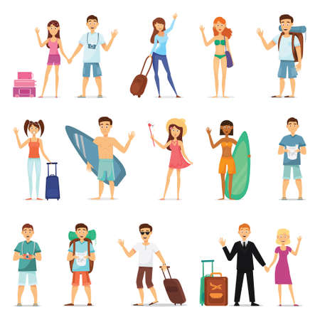 People and couples travelling, surfing, leisure, hiking. Character design. Flat design vector illustration