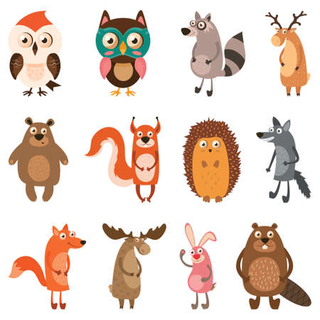 Cute forest animals. Vector illustration.