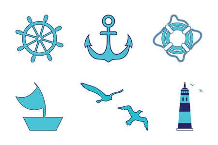 Zee set, vuurtoren, stuurwiel, zeilschip, reddingsring, anker, meeuwen. Alle objecten zijn gemaakt in een vector. Elk van hen afzonderlijk op een witte geïsoleerde achtergrond. Stock Illustratie