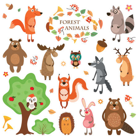 A set of cute animals on a white background isolated. Vector illustration in a flat style, hedgehog, elk, fox, deer, squirrel, raccoon, and bear. Stock Photo