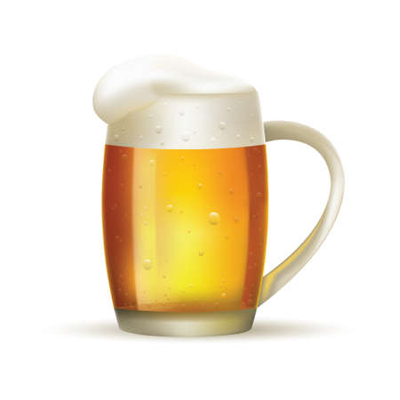 Glass of beer with foam on white isolated background. Vector illustration. Ilustrace