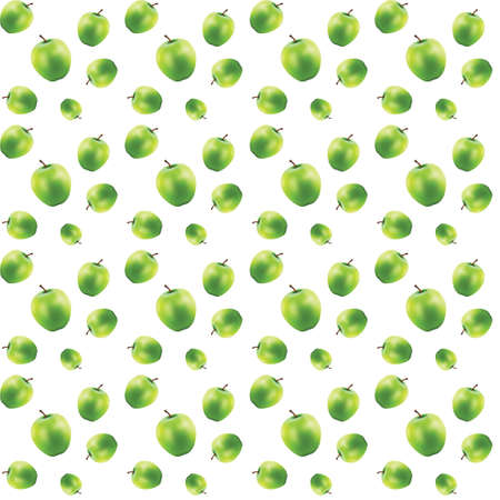 zero gravity: Different sizes of green apples. Seamless 3D-object on white background. Vector.