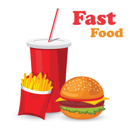 Lunch with french fries, hot dog and soda takeaway on isolated background. Fast food. Flat design. Vector Illustration.