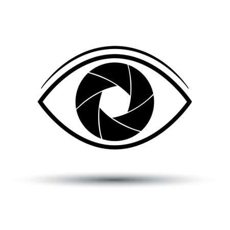 Camera Lens icon flat. Eye camera on white background. Silhouette. Vector illustration  イラスト・ベクター素材