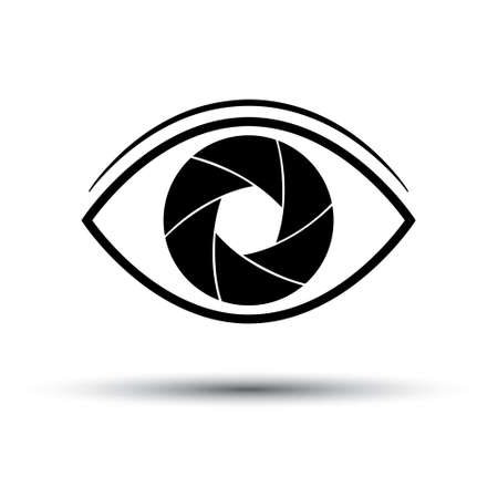 Camera Lens icon flat. Eye camera on white background. Silhouette. Vector illustration Stock Illustratie
