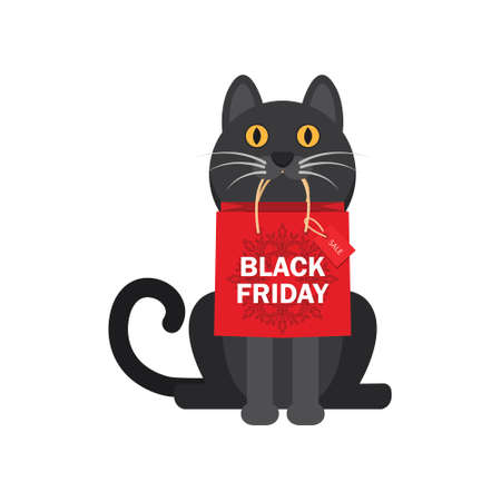 In the teeth of a cat with a package of purchases, a black Friday, a Christmas sale. Design of a bag design. Vector illustration EPS10 Vettoriali