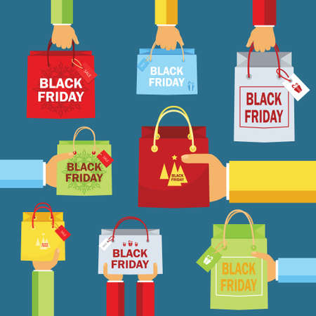 Black Friday, package in hands, purchase, sale, design vector illustration.