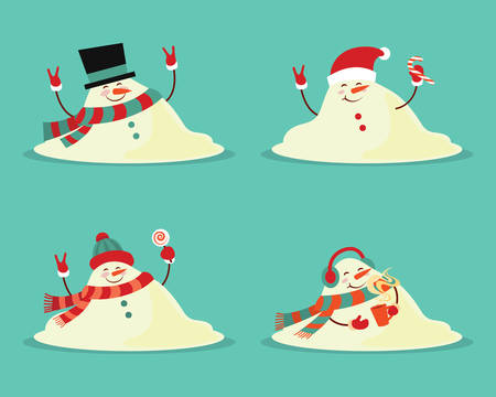 Snowman melted. flat vector illustration in cartoon style isolation on a blue background. Ilustração