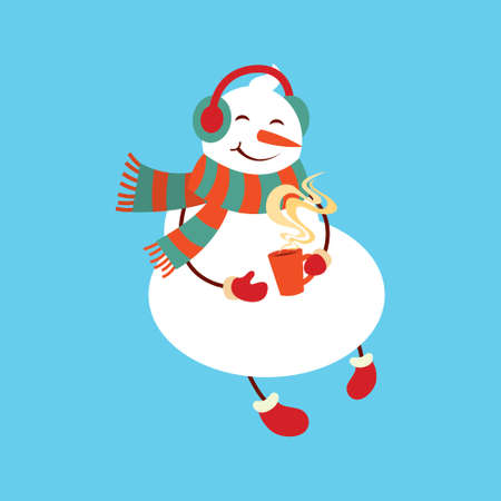 Funny cartoon snowman, Vector illustration with snowman in top hat.