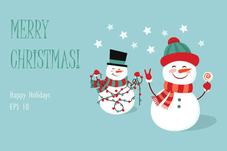 Funny two cartoon snowman, vector illustration with a snowman in top hat and hat