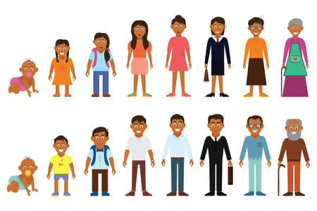 Set of african american ethnic people generations avatars at different ages.