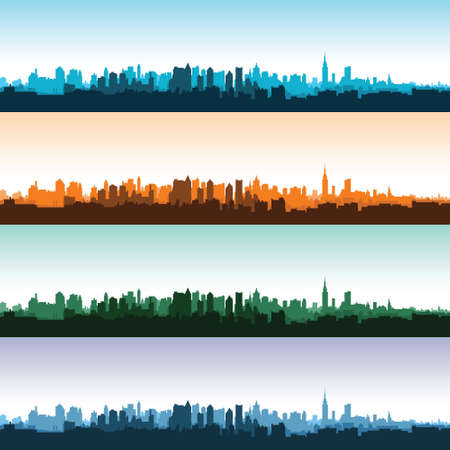 Set of city landscapes at different times of the day. Vector illustration.