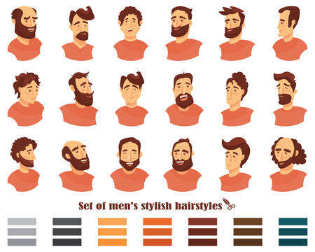 Set of men hairstyles with beards and mustache. .Gentleman haircuts and shaves. Vector illustration.