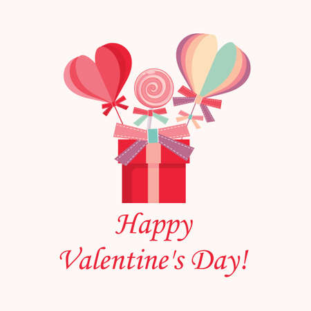 Happy Valentines Day pink banner. Side view of the composition with a lollipop, gift box and confetti. Vector illustration.