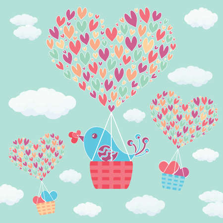 Positive hand drawn vector text Love is in the air decorated hot air balloon fly with clouds, sky and hearts. Wedding banner or St. Valentines Day card.