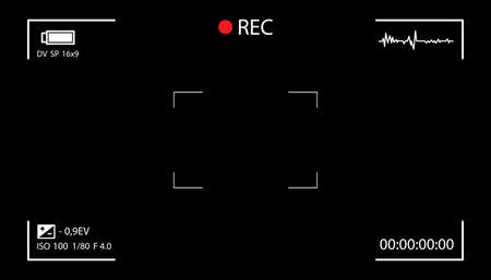 Camera screen with white frame, figures and battery symbol. Camcorder viewfinder on black background. Illustration