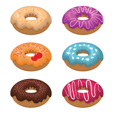 Glazed colored donuts install 3D. Vector illustration on white isolated background.