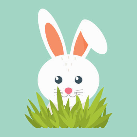 Illustration of white hare. Eps 10 vector. Illustration of a rabbit. Cute little animal on a blue background with grass.