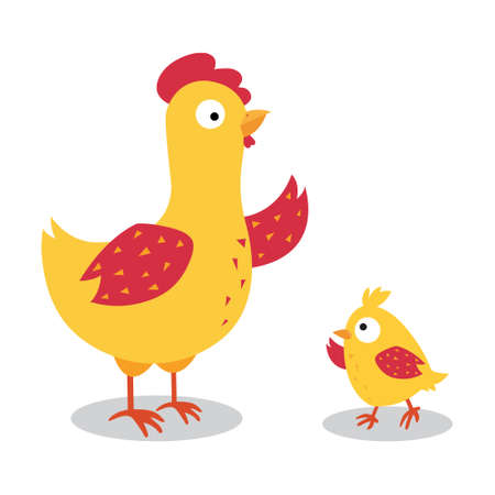 Cute chicken family design with vector illustration on white background. Vettoriali