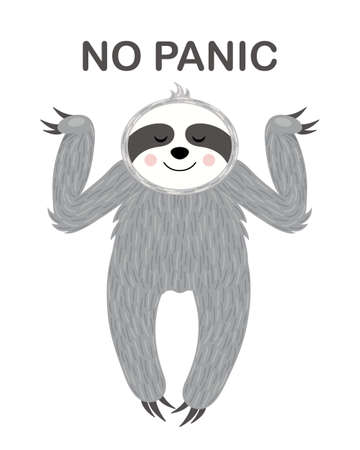 Relaxed sloth illustration with No panic text.