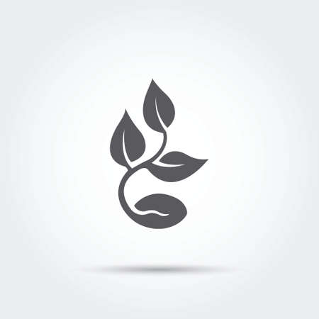 Seedling process, seed icon silhouette. Vector illustration