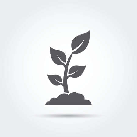 Seedling, process, seed, icon, silhouette. Vector illustration. Çizim