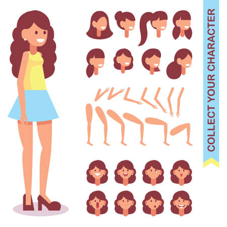 3 4 kind of animated character. Designer of a young girl with different kinds, emotions of the face, body parts and hairstyles. Cartoon style, flat vector illustration. 일러스트