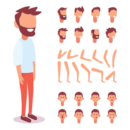 Flat Vector Guy character for your scenes. Character creation set with various views, face emotions, lip sync and poses. Parts of body template for design work and animation. Vetores
