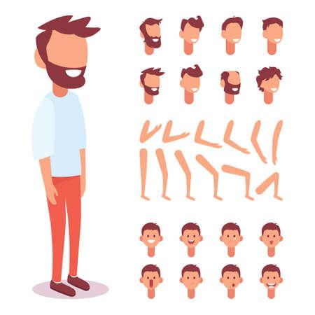 Personaggio piatto Vector Guy per le tue scene. Set di creazione del personaggio con varie viste, emozioni del viso, sincronizzazione labiale e pose. Parti del modello del corpo per lavori di progettazione e animazione. Vettoriali