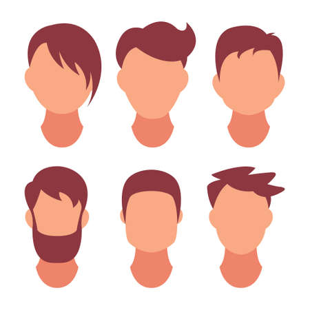Hairstyle Men. Classical and fashionable hair. Salon of hairstyles for a hairstyle. Vector icon on set isolated on white background.