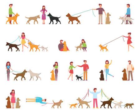 I giovani sono cani a passeggio. Varietà di rocce. Il cane è accanto al suo proprietario al guinzaglio. Illustrazione vettoriale in uno stile piatto su un cartone animato sfondo bianco.
