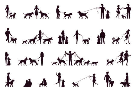 A set of characters walk with a dog. Silhouette. Vector illustration in simple style on white isolated background.