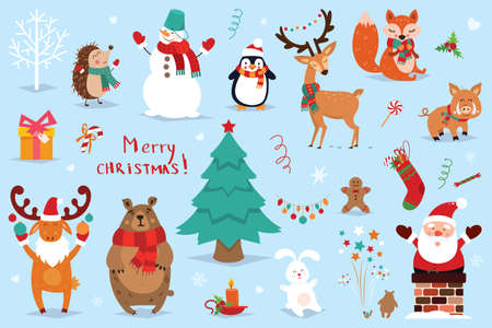 Set of Christmas and New Year elements with animals and Santa. Vector illustration. Çizim