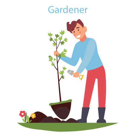Cute cartoon guy with a shovel. Young farmer planting tree colorful simple vector design. Spring Gardening