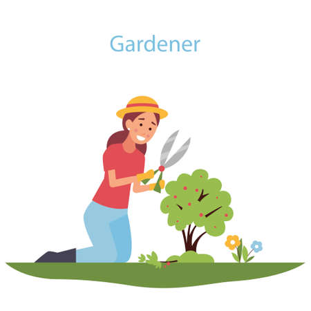 Girl gardening plants on the backyard. Organic gardening illustration.