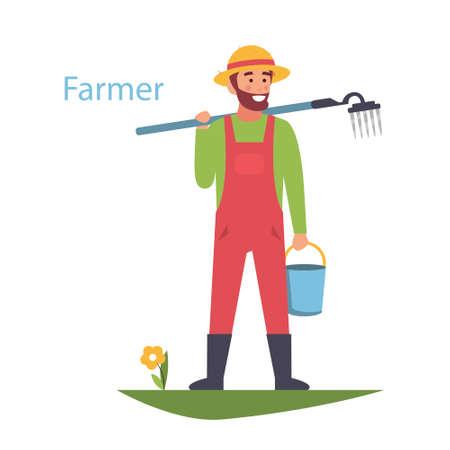 Farmer. Vector logo works in the field